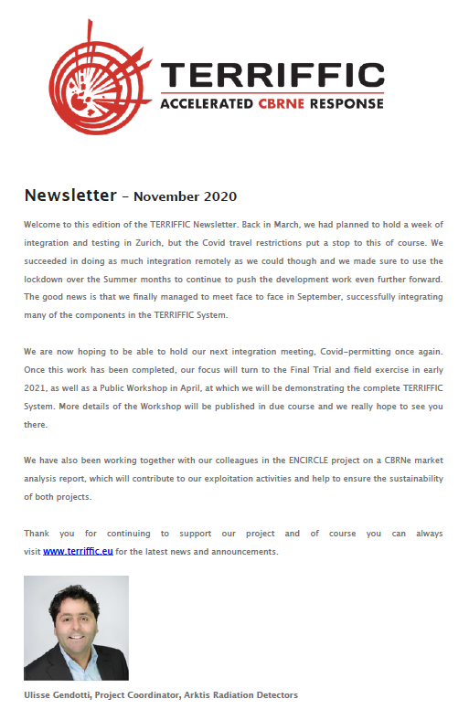 TERRIFFIC Newsletter screenshot